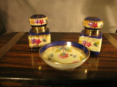 Desk Top Ink Well Writing Antique  Victorian Hand Painted Gilt China Porcelain