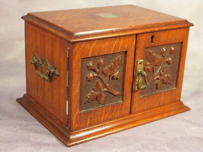 Antique Edwardian Vintage Tiger Oak wood Cigar Humidor Smokers Cabinet Box Safe