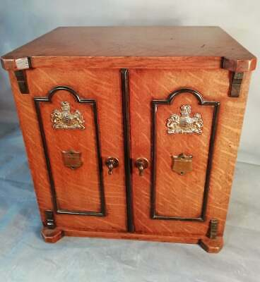 Antique Victorian Vintage Tiger Oak Cigar Humidor Smokers Cabinet Box Safe C1890