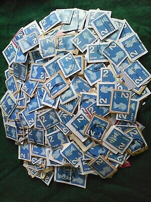 100g, 2nd Class blue Large Letter security Stamps, Franked, Trimmed On Paper.