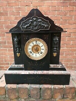 Very Large American  Slate, Marble 8 Day Striking Mantel Clock