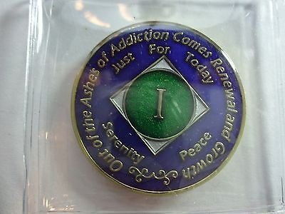 Capsule/&Stand NA Blue Gold Coin 29 Year Tri-Plate Narcotics Anonymous Medallion