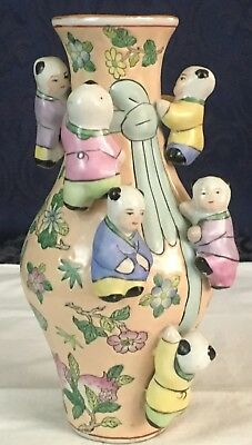 Vintage Chinese Art Pottery Figural Fertility Vase 7 Children Climbing Butterfly