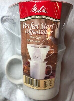 Melitta Perfect Start Coffee Maker One Cup Filter Cone Sealed NIP White