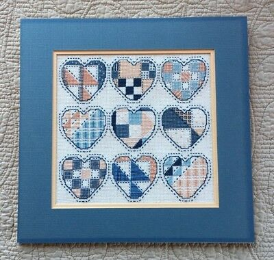 Patch Work Hearts Cross Stitch Completed Matted Backboard Unframed