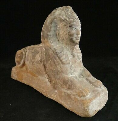 "Ancient Egyptian Pottery Sphinx. 4"" tall, base is 5 ½"" x 2"". 720bc -300bc."
