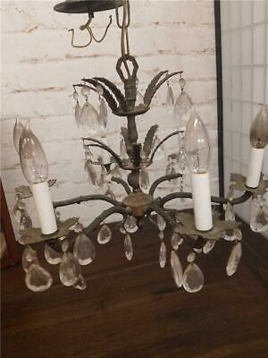 Vintage Antique Solid Brass 6 Arm Light Chandelier Crystal Prisms