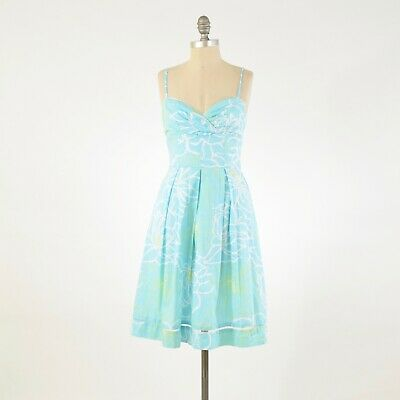 Lilly Pulitzer Dress 0 Blue Floral Cotton Poplin Sweetheart Neck Fit & Flare