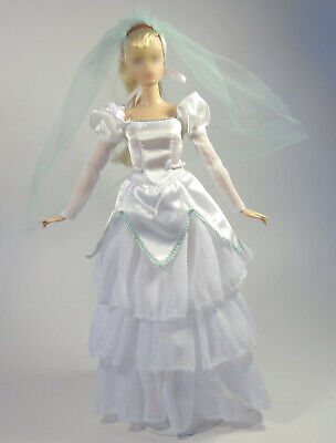 Barbie Sized Wedding Dress Veil Shoes Doll Clothes Formal Clothing Outfit Toys