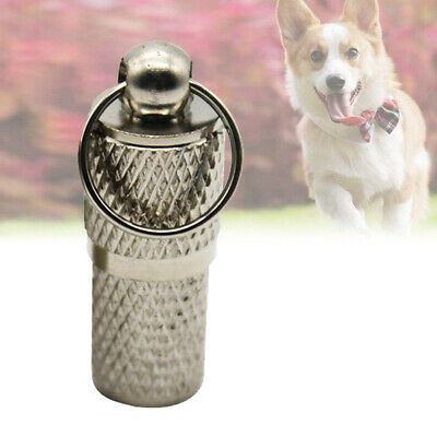 Metal Dog Cat Pet Antilost Id Name Address Tag Cylinder Shape Dog Collar Pendant