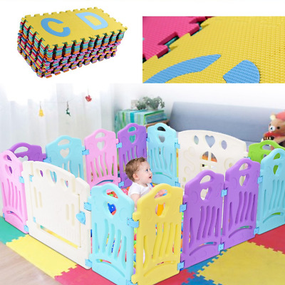Baby Playpen Kids 14Panel Safety Play Center Yard Home Indoor Outdoor Pen Fence