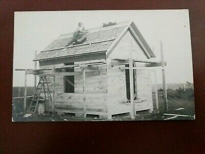 RPPC- Man Working On Roof Of House Being Built - Early 1900's
