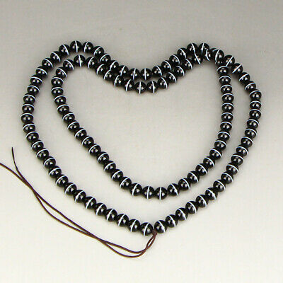 8 MM Chinese Natural Agate Beads Necklace w Certificate