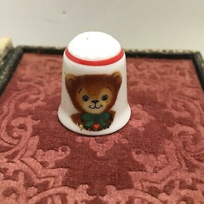 Reutter Germany Christmas Thimble Porcelain With Teddy Bear Collectible