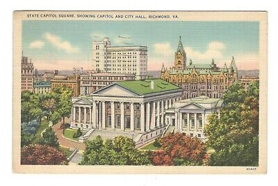 State Capitol Square Richmond Virginia Linen Vintage Postcard AF4