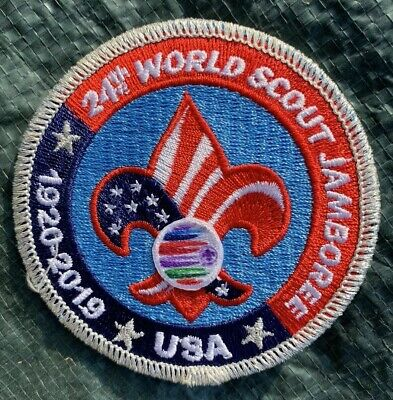 """^24th WSJ 2019 WORLD SCOUT JAMBOREE OFFICL USA CONTINGENT BADGE 3"""" POCKET PATCH"""