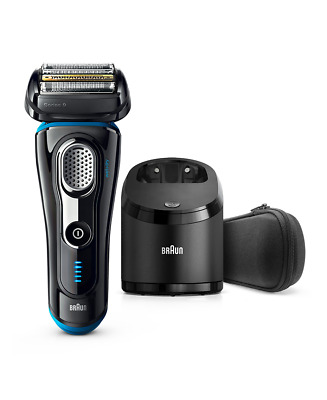 New Braun Series 9 Wet/Dry Electric Shaver Black Plus Clean&Charge Station & Tr