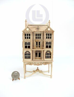 Miniature 1:144 Scale Doll House On Table / Dollhouse Cabinet [Unfinished]