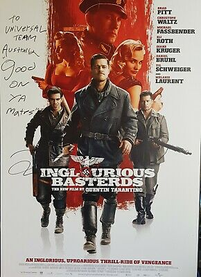 Signed Poster Inglorious Basterds Quentin Tarantino Autograph message to Aussies