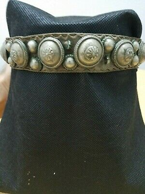 Antique Silver Yemeni  Bedouin skull cap ornament with old authentic leather