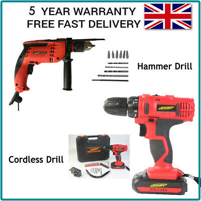 Electric Corded Hammer Drill & Cordless Drill Driver - Total 2 Set with Bits