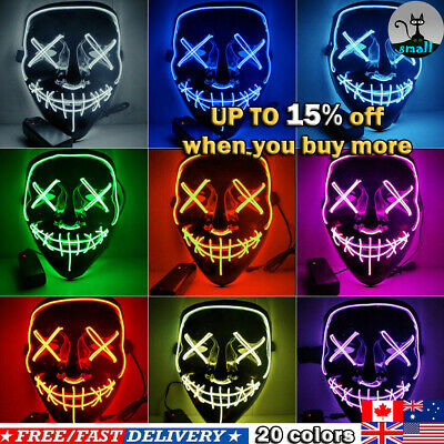 Halloween LED Glow Mask 3 Modes EL Wire Light Up The Purge Movies Costume Party