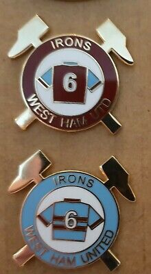 West Ham Utd Bobby Moore Number Six Design Home & Away Shirts Enamel Badges x 2