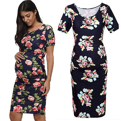 Pregnant Womens Maternity Floral Short Sleeve Bodycon Midi Dress Party Holiday