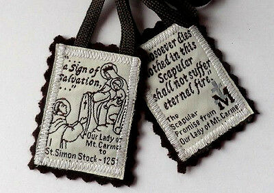 "Traditional Catholic 100% Brown Wool  ""Our Lady of MT. Carmel""  Scapular"