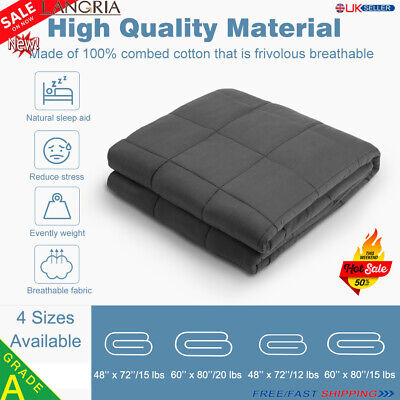 8-SIZES Premium Weighted Gravity Blankets Sensory Sleep Reduce Anxiety Cotton UK