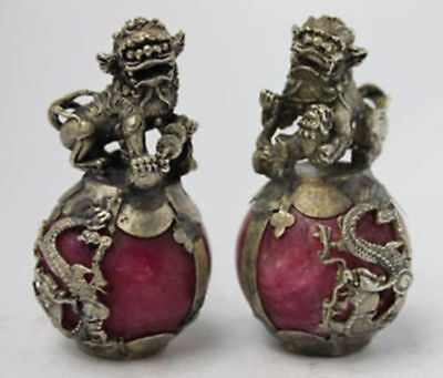 A PAIR Chinese Handmade Carved Dragon Armoured Old Red Jade Kirin Statue