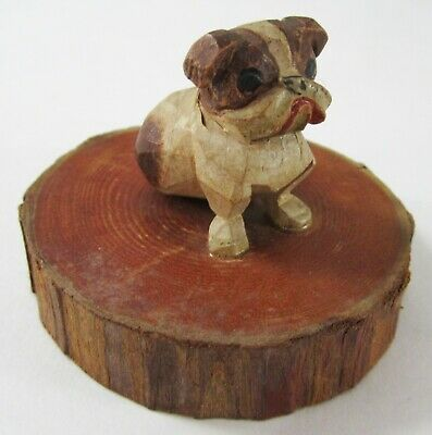 Vintage Folk Art Carved Bulldog Puppy Dog Wood Miniature Hand Painted Sculpture