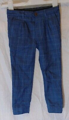Boys Matalan Blue Grey Check Smart Formal Suit Tailored Trousers Age 2-3 Years
