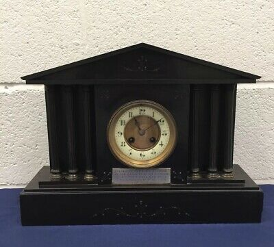 Antique Victorian Slate Architectural Mantle Clock Cheltenham Police 1914