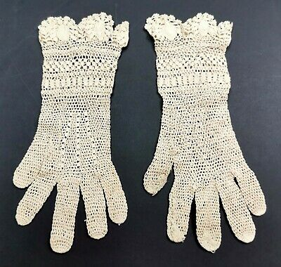 Antique / Vintage Cream Cotton Crochet Ladies Gloves - Genuine