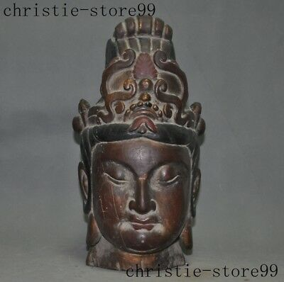 Chinese Lacquerware Old Wood Carved Buddhism Guanyin KuanYin Buddha Bust Statue