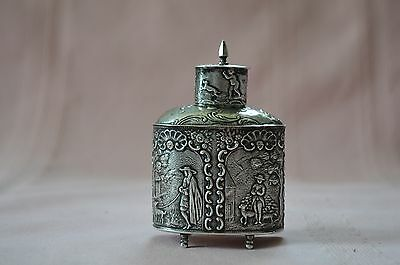 Antique Rare & Orante Sterling Silver Repousse French Tea Caddy, Country Life