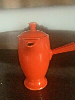 Vintage Fiestaware Red Demitasse Pot with Six Cups & Saucers