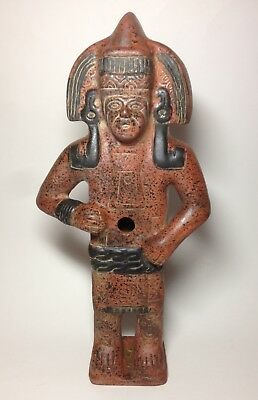 Terra Cotta Mayan Aztec Warrior Statue Two Face Figurine Pre Columbian Style 16""
