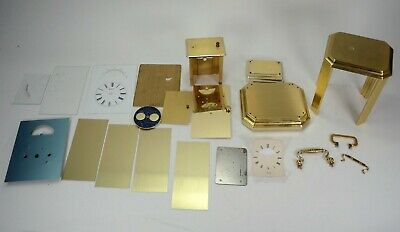 Vintage carriage clock parts Germany Mix Lot Moon Face Brass Metal Steel Mix Lot