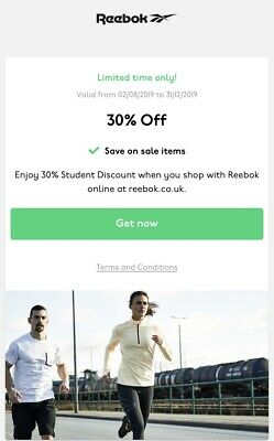 REEBOK 30% OFF DISCOUNT CODE (inc sale Items) *INSTANT DELIVERY* - UK ONLY