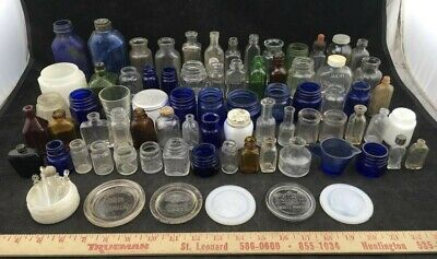 Vintage Glass Bottles Massive Lot 80 pieces For Collectors Dates Vary