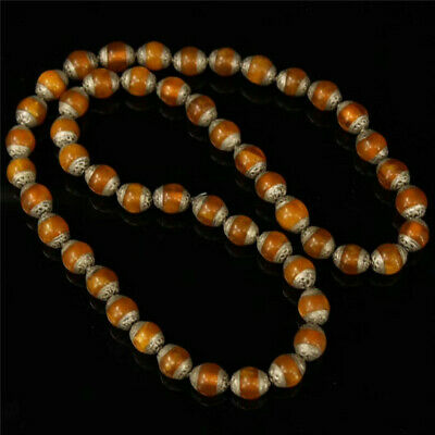 """22.83"""" Collection Nepal Beeswax silver Handmade beads Necklace"""