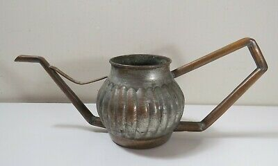 Silvered & Hammered Copper Watering Can w/ Copper Tube Spout & Handle