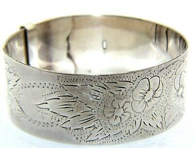 Ladies Womens Adjustable Solid Silver Floral Patterned Bangle HALLMARKED