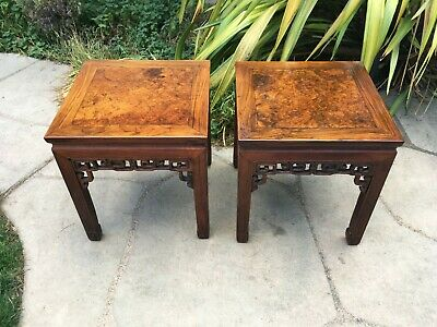 2 RARE ANTIQUE CHINESE HUANGHUALI WOOD SIDE TABLE  wood asian art chair
