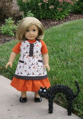 """Handmade Doll Clothes fits/for 18 in. American Girl ~ """"Witches Brew"""" Dress Apron"""
