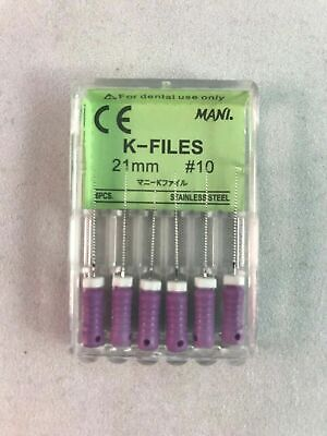 Mani Dental Root Canal Endo Stainless Steel K-files 21mm Size #10 30 Files/pk