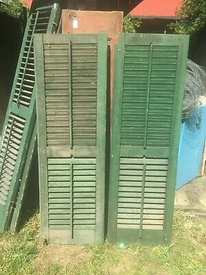 Vtg 1800's Old  Wooden Window Shutter Architectural Salvage 54in x 15in Pair
