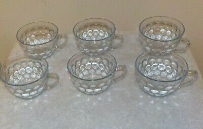 A SET OF SIX Anchor Hocking  Blue Bubble  Glass  CUPS  Excellent